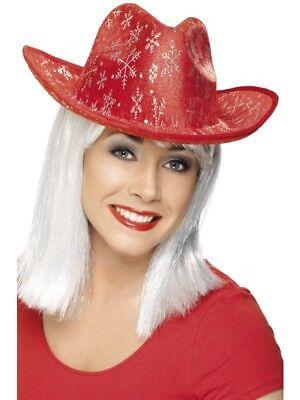 Cowboyhut Weihnachten Santa ROT Partyhut Cowboy Hut ()