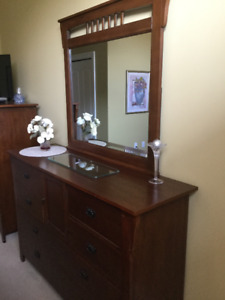 Mission style triple dresser, chest and night table