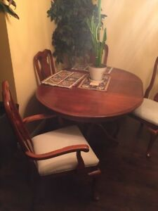 Kitchen dining pedestal table and chairs