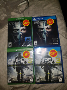 Sniper ghost warrior 3 and dishonored 2.