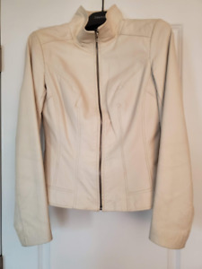 DANIER White Leather Jacket - Small Size