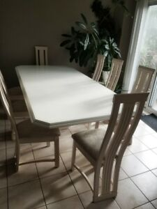 white extendable kitchen dining table with chairs