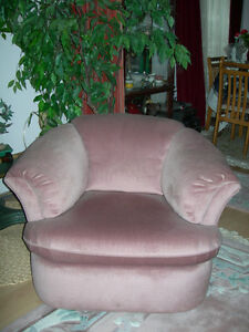 Small Pink Velvet Armchair / Tub Chair