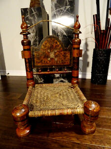 1800s TIBET PRAYER CHAIR Tribal carved HEAVEN on EARTH Swat