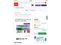 "LG 55UJ651V 55"" Smart 4K Ultra HD TV with HDR"