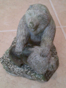 "Inuit Stone Carving rare ""The Bear & Buffalo"" by artist BRAXRMMX"