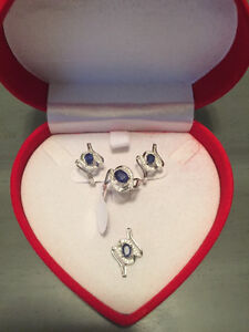 Sterling Silver & Blue Sapphires Set