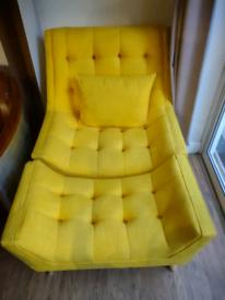 Yellow armchair and footstool ottoman
