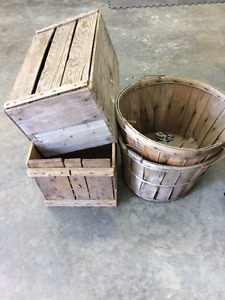 Antique vegetable baskets and wooden crates
