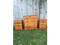 Solid pine chest of drawers and 2 matching bedsides