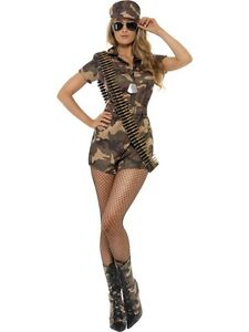 Adult 8-10 Camo Army Girl Soldier New Fancy Dress Costume Sexy Ladies Womens