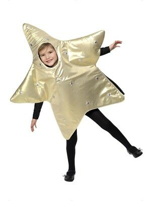 Shining Star Costume Gold Fancy Dress Nativity Childrens Christmas Girls Boys - Star Girl Fancy Dress