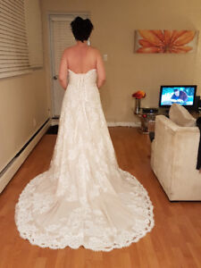 Stunning champagne & white lace wedding dress