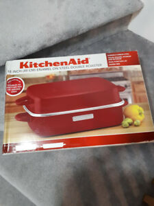 NEW IN THE BOX KITCHENAID ENAMEL ON STEEL DOUBLE ROASTER, 18-IN