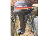 Yamaha mariner 15hp long shaft outboard boat engine tiller control