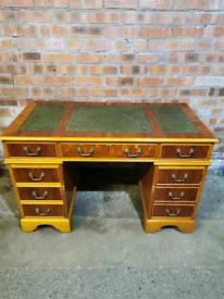 Beautiful green leather top yew wood pedistal desk