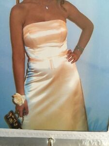 Floor length a-line pale yellow prom/bridesmaid dress