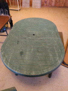 Outdoor table, 4 chairs, umbrella base for sale