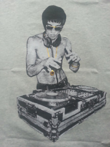 Bruce Lee DJ Graphic Tee T-Shirt - Grey OR Black