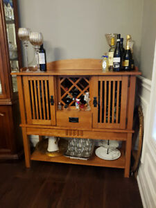 Solid Wood Hutch- Perfect for wine display and storage