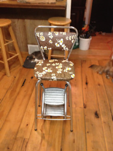 Vintage Kitchen Chair with Folding Foot Steps