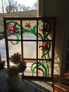Large Stained Glass Window, Lead Stained Glass, Solid Wood Frame