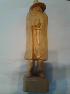 """12"""" Wood Carving of Cloaked Man with Dagger(Looks Like Freddie)"""