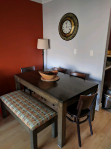Harvest dining table , bench and chairs