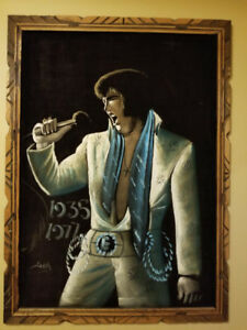ELVIS Presley hand Oil Painting on velvet canvas - two to choose