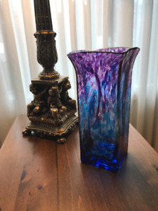 Keller Art Glass Floral Vase Signed