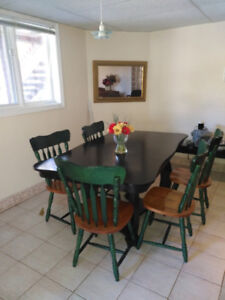 Solid Dining Table Set with 6 Chairs