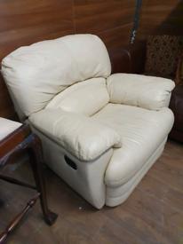 21. Cream leather reclining armchair