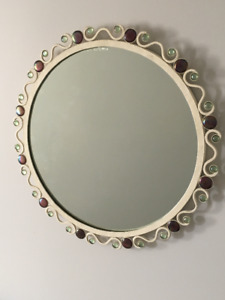 Bombay wrought iron antique white jewelled mirror
