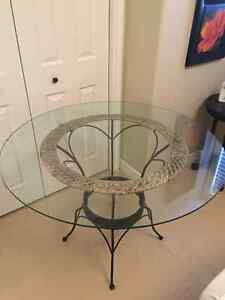 """42"""" Circle glass table with wicker/ rod iron base"""