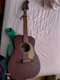 Dark wood fender guitar set