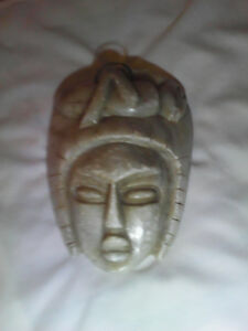 OLD MARBLE HAND CARVED CERIMONIAL MASK