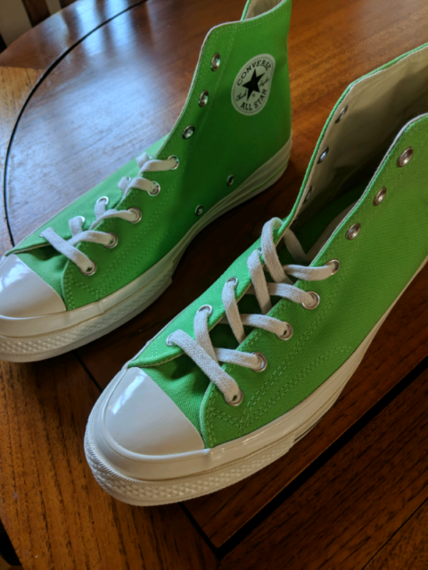 c053657bbdd3 High-Top Light Green Converse Shoes Mens Size 11