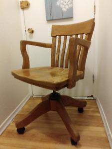 Chaise de Bureau Vintage en Bois
