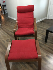 Price Drop Ikea Poang chair & matching footstool