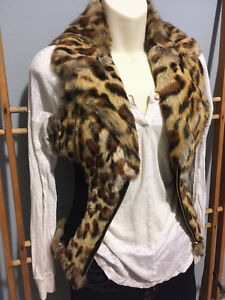 GUESS Leopard Genuine Real RABBIT FUR VEST w/ Leather, Size S London Ontario image 2