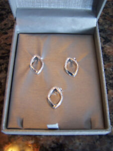 Set of 3 Stamped 925 Sterling Silver Diamond Loop Pendants