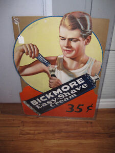 Rare Bickmore Easy-Shave Cream Cardboard Sign