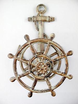 Tube Holder Maritime Anchor with Steering Wheel Garden Hose 50 cm Cast Iron