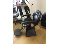 Leather black barber chair