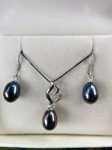 Pearl on Sterling pendant with earrings set $200