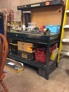 tool boxes and table