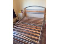 Metal & wood double bed - FREE
