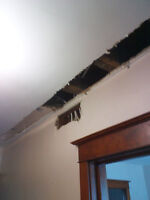 Ceiling,walls ,Damaged by water ? Repaired as new.No Dust system