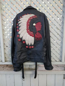 Indian Chief men's leather motorcycle jacket