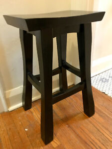 Solid wood bar stools, black, set of two.